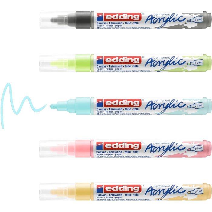 Marcador acrilico edding 5100 trazo medio 5 colores pastel