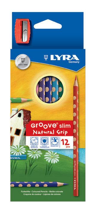 Lapiz de color lyra groove slim estuche 12 ud+sacapuntas