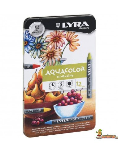 Cera lyra aquacolor 12 colores surtidos caja metal