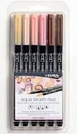 Rotulador lyra aqua brush duo skin tones 6 colores