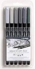 Rotulador lyra aqua brush duo tonos grises 6 uds