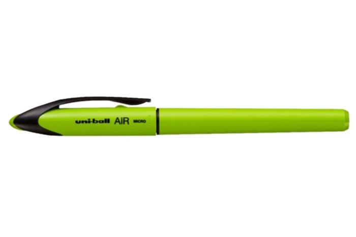 Rotulador uniball air verde lima tinta azul