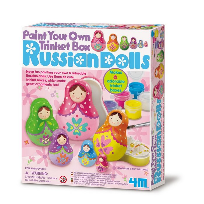 Juego 4m paint your own trinket box russian dolls