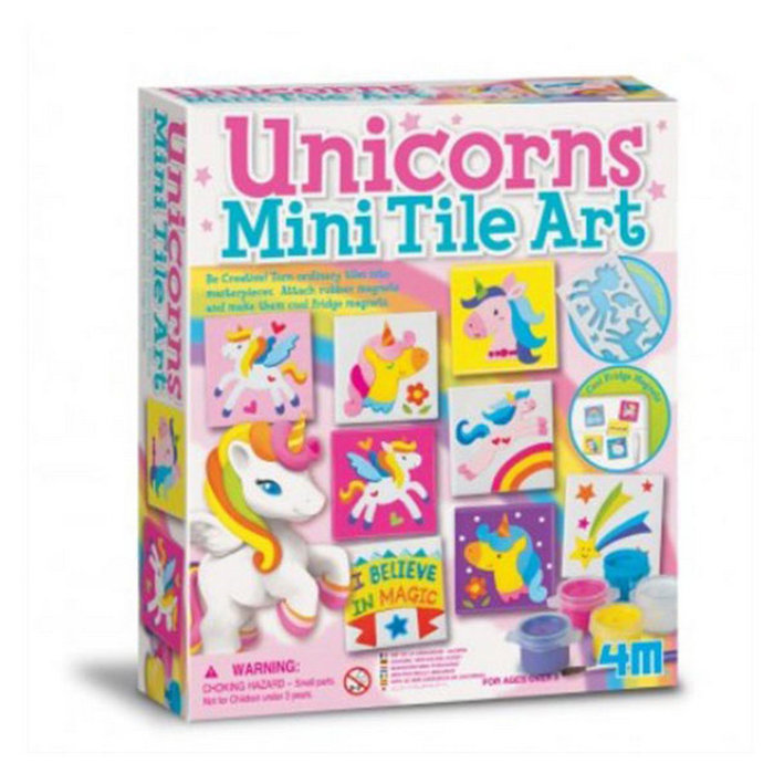 Juego 4m set arte de azulejos unicornio