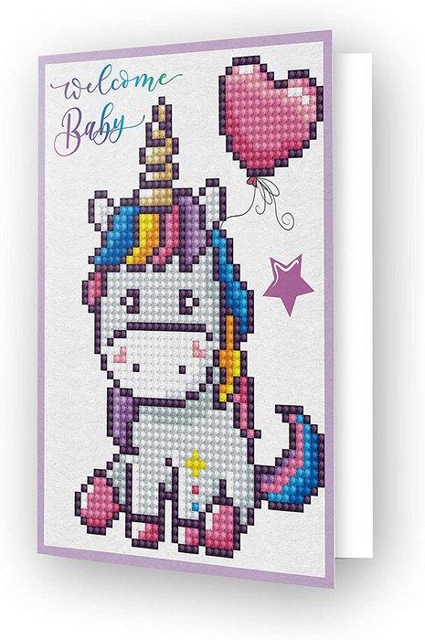 Diamond dotz tarjeta unicornio welcome baby