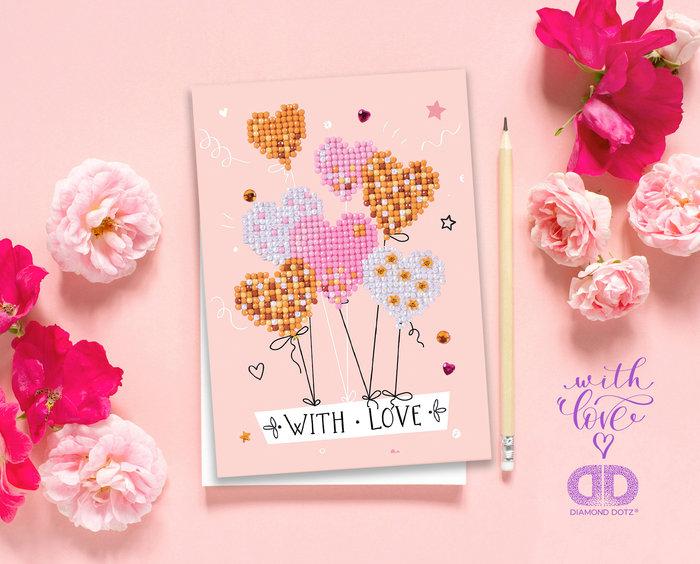 Diamond dotz tarjeta globos de amor