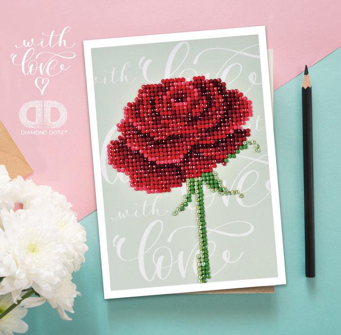 Diamond dotz tarjeta rosa love