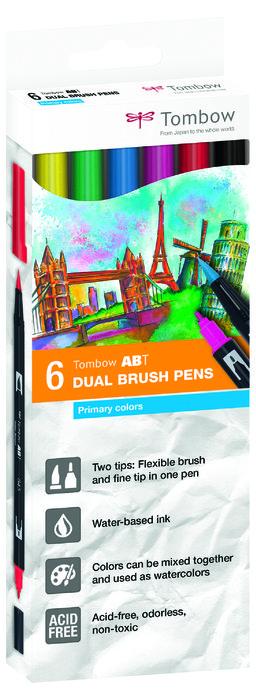 Rotulador tombow dual brush set 6 colores primarios caja car