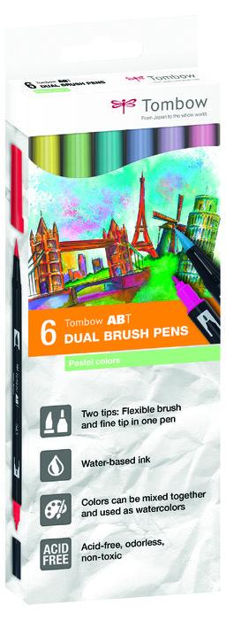 Rotulador tombow dual brush set 6 colores pastel caja carton