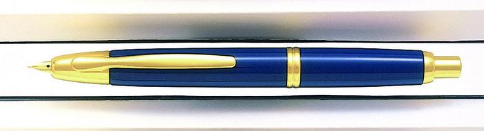 Pluma retractil 1500 azul f dorada