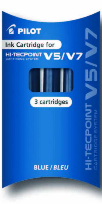 Recambio rotulador pilot v5 / v7 recargable azul 3 uds