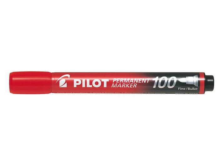 Marcador permanente punta biselada sca-400 rojo