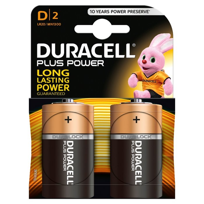 Pila alcalina duracell plus power d lr20 blister 2 uds