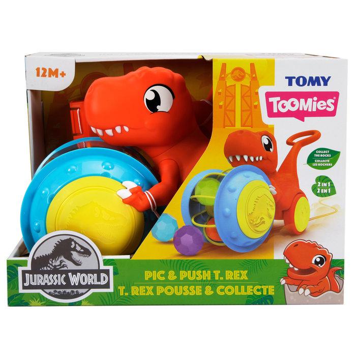 Tomy toomies jurassic park t-rex agarra y empuja
