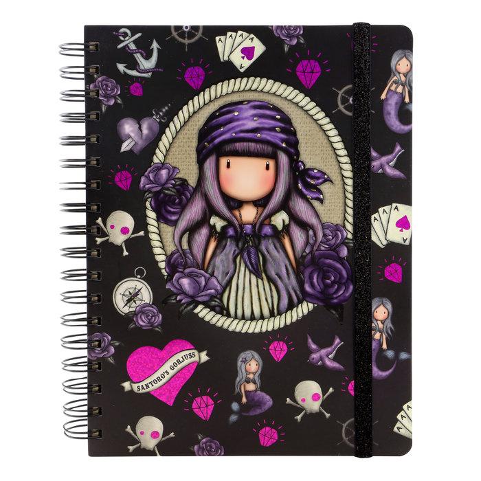 Diario grande con anillas gorjuss violeta