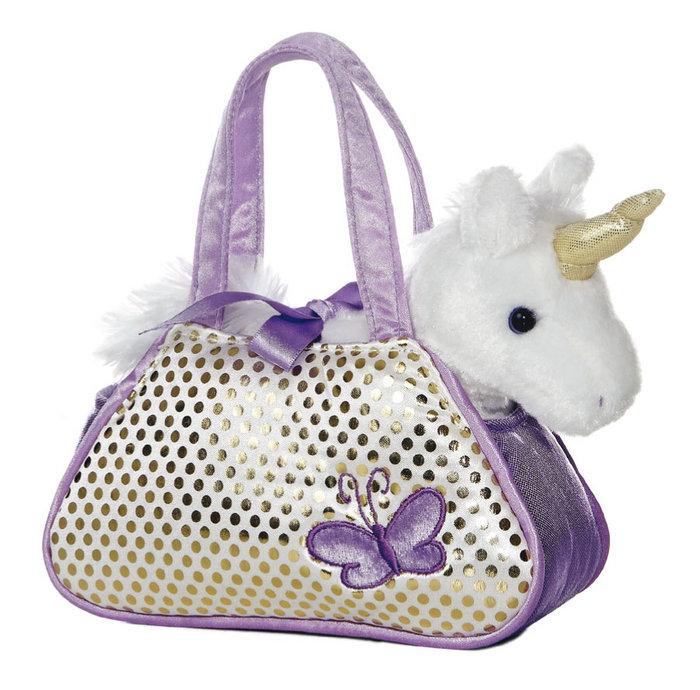 Peluche bolso fancy pals unicornio lila 21 cm