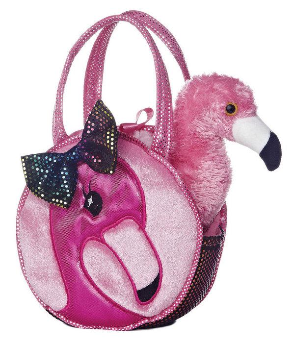 Peluche bolso flamenco rosa 21 cm