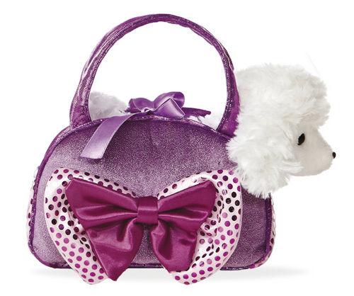 Peluche en bolso 21cm caniche lila con lazo