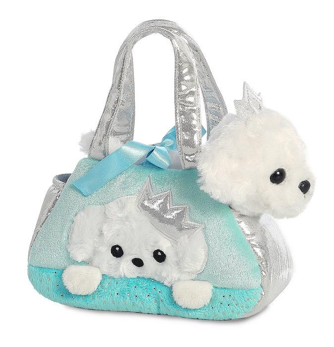 Bolso azul perro blanco bordado 21 cm