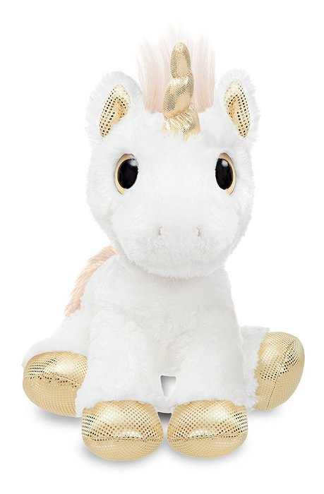 Peluche st unicornio blanco y dorado 31cm