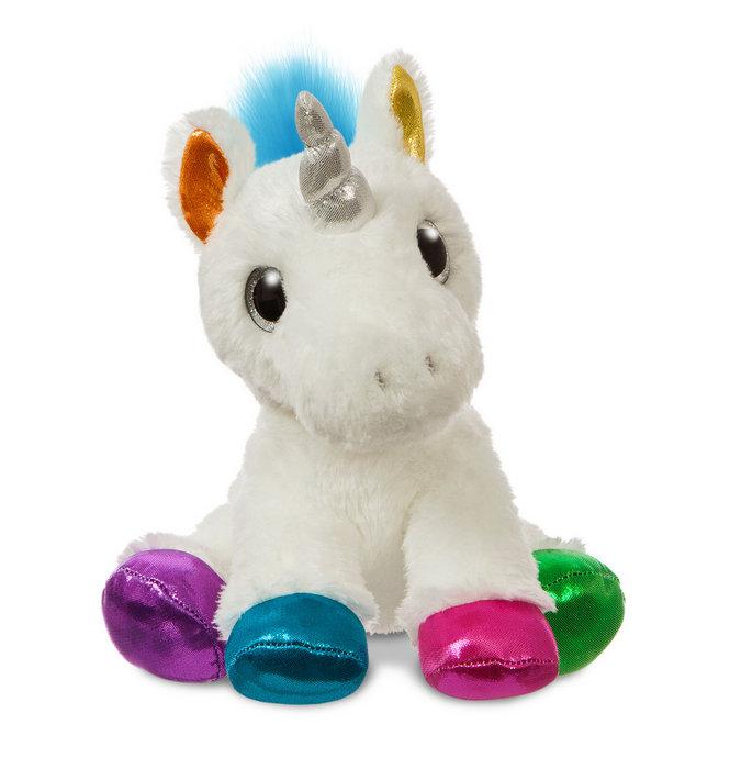 Peluche sparkle tales unicornio blanco patas multicolo 31cm