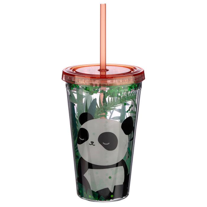 Vaso plastico pajita oso panda