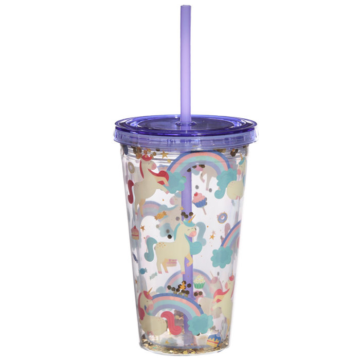 Vaso plastico pajita unicornio