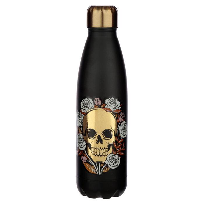 Botella acero termico calavera y rosas