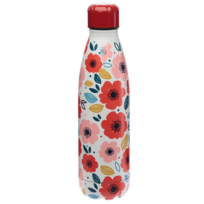 Botella acero termico amapolas