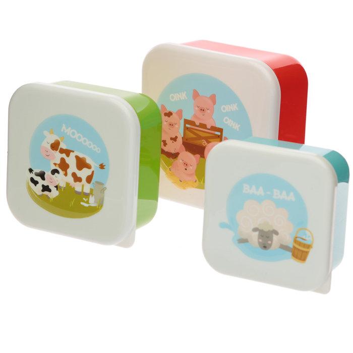 Fiambreras animales de la granja infantiles set 3 uds