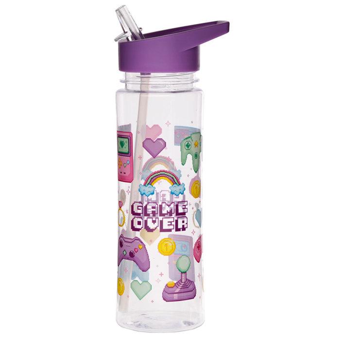 Botella agua infantil con pajita 450ml game over