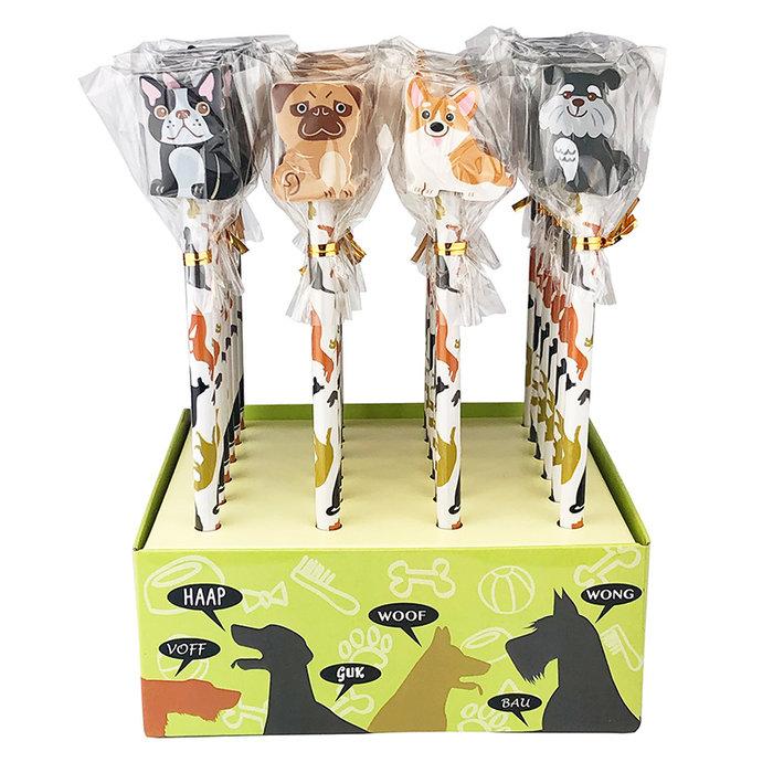 Expositor 24 lapices con goma perros