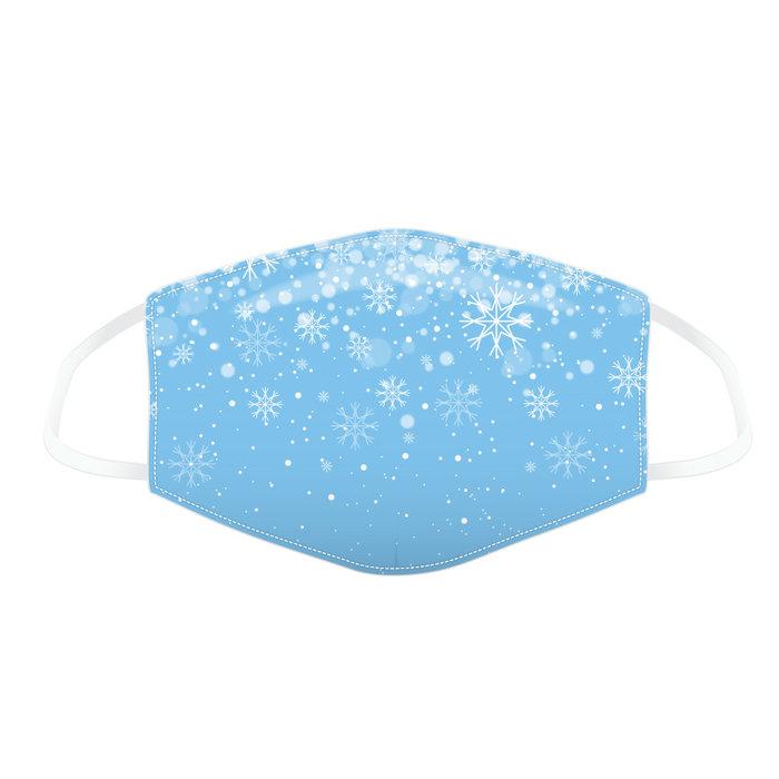 Mascarilla tela sin filtro invierno copos de nieve