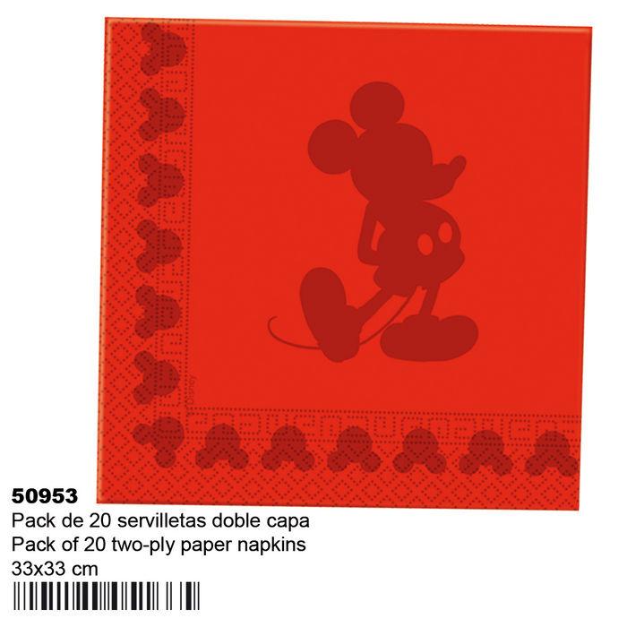 Pack 20 servilletas 33x33cm mickey face rojo 50953