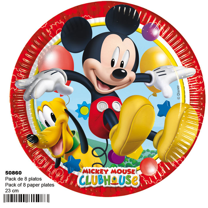 Pack 8 platos 23cm michey mouse club house