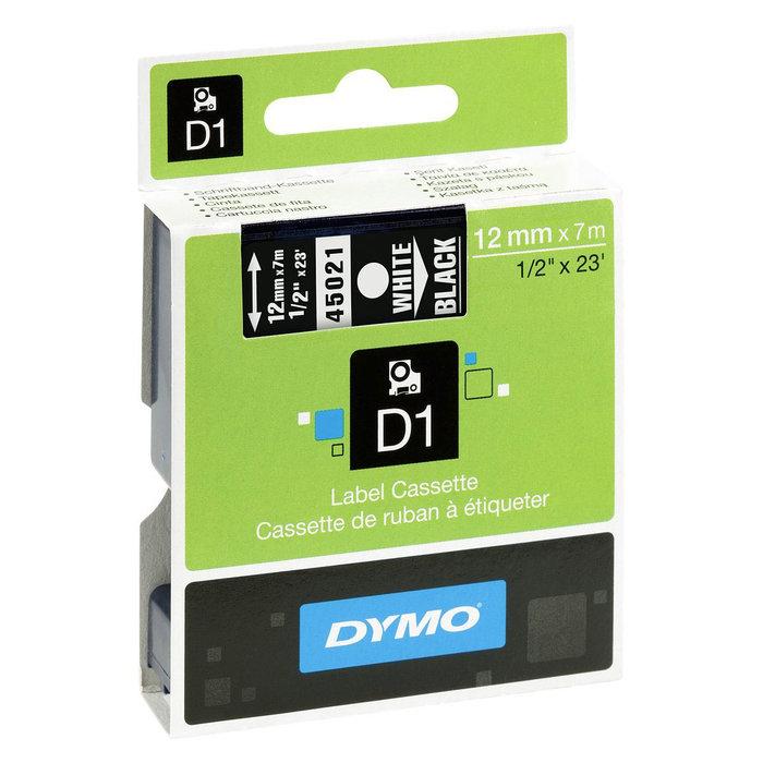 Cinta dymo d1 12mm x 7m blanco / negro
