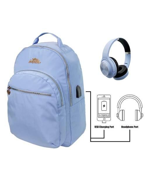 Mochila ml metallic blue con auriculares cascos