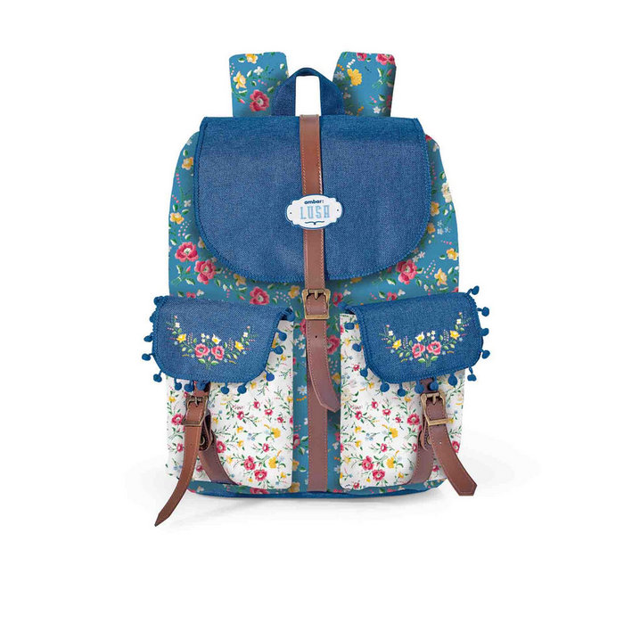 Mochila vintage lusa flower blue ref 6161201040018