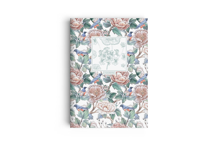 Cuaderno a5 grapado loving flowers claro