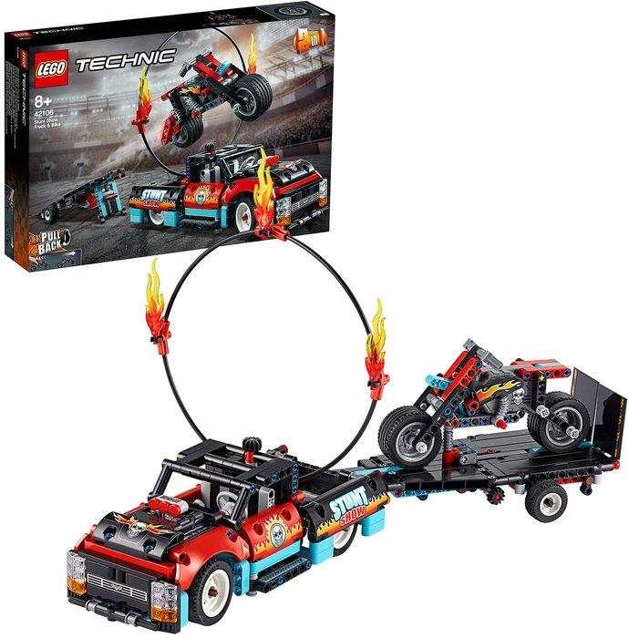 Lego technic espectaculo acrobatico camion y moto