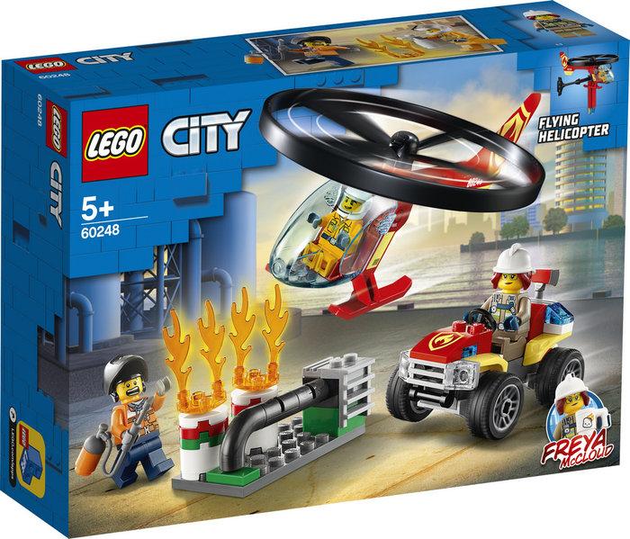 Lego city fire intervencion del helicoptero de bomberos