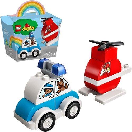 Lego helicoptero de bomberos y coche de policia
