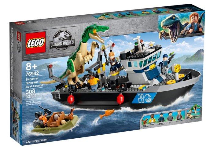 Lego jurassic world fuga del barco del dinosaurio baryonyx