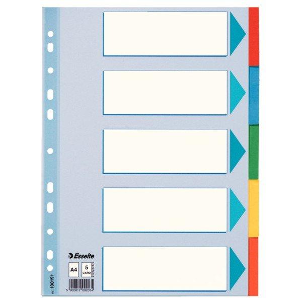 Separadores multitaladro a4 cartulina indice color