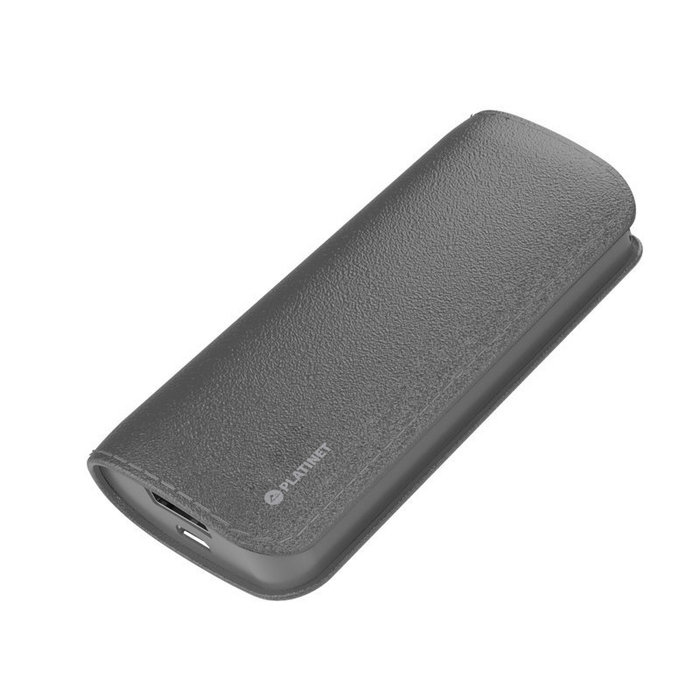 Power bank platinet 5200mah cuero gris con cable microusb