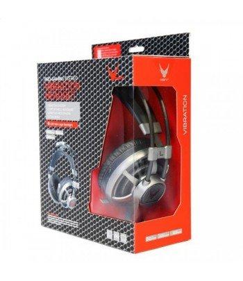 Auricular gaming led light vibracion + mic gris omega