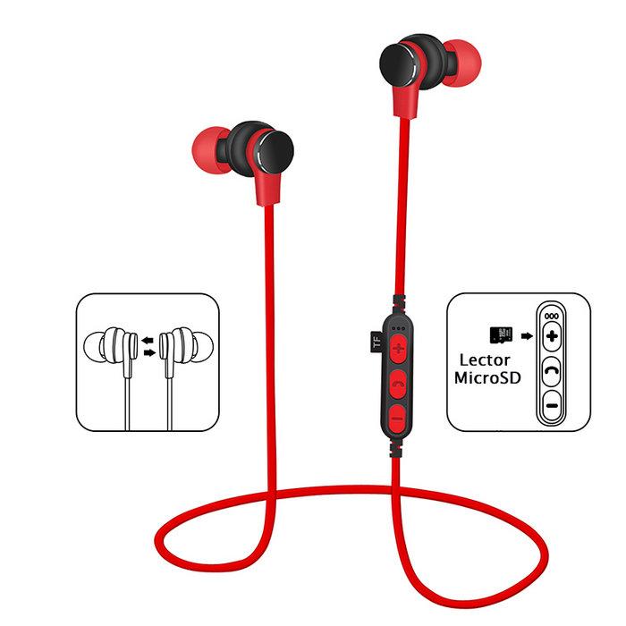 Auriculares platinet bluetooth microsd mic pm1061r rojo