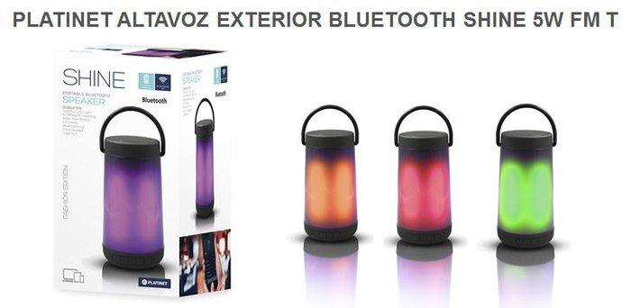 Altavoz platinet exterior bluetooth shine 5w pmg15led