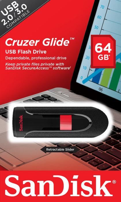 Pendrive usb 2.0 64gb cruzer glide b35 sandisk