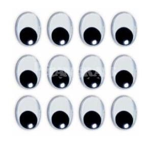 Ojos ovalados adhesivos 10 mm 40 unid negro
